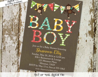 Monkey Baby Shower Invitation, Twin Boy Birthday Party, Coed Sprinkle Sip and See   126 Katiedid Designs