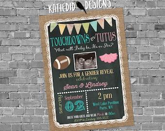 gender reveal invitation touchdowns tutus couples shower twins neutral ultrasound photo announcement burlap lace | 1431c Katiedid Designs