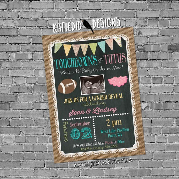gender reveal invitation touchdowns tutus couples shower twins neutral ultrasound photo announcement burlap lace | 1431c Katiedid Designs