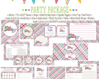 rustic baby girl owl baby shower co-ed baby shower party package banner wishes for baby cupcake toppers thank you card 139 Katiedid Designs