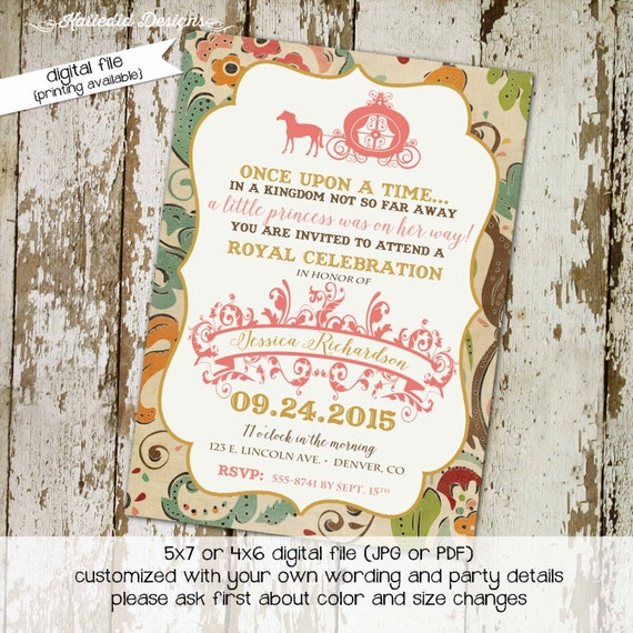 once upon a time storybook couples baby shower invitation happily ever after royal celebration coed princess floral | 1323 Katiedid Designs