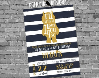 wild one two where the things are birthday invitation couples baby shower coed rumpus king gold navy white stripe   296b Katiedid Designs