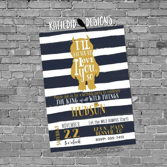 wild one two where the things are birthday invitation couples baby shower coed rumpus king gold navy white stripe | 296b Katiedid Designs