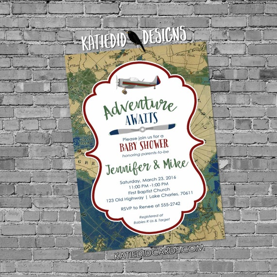 Adventure Awaits vintage airplane travel theme world map baby boy shower invitation birthday oh the places you'll go coed | 12124b Katiedid