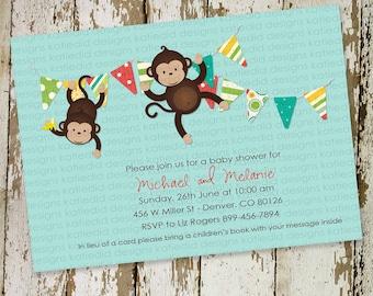 gender reveal invitation twins baby shower couples monkey neutral bunting banner coed sprinkle sip see brunch diaper   1210 Katiedid Designs