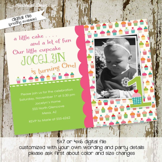 cupcake birthday invitation birth announcement pregnancy ultrasound photo picture couples baby shower sip see brunch | 245 Katiedid Designs