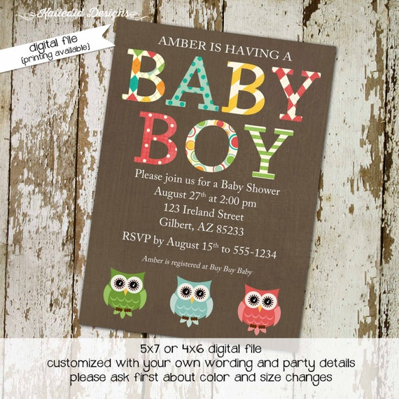 owl baby shower invitation gender reveal boy diaper wipes brunch coed couples sprinkle twins two moms double rustic | 1226 Katiedid designs