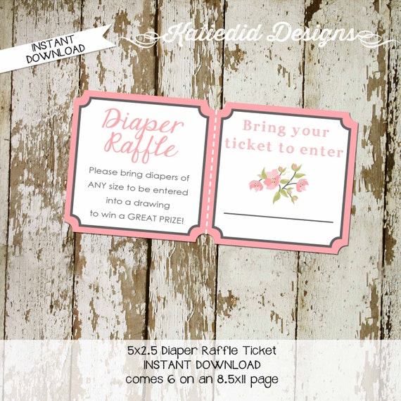 rustic baby girl shower invitation mint coral boho baby shower floral chic pastel pink Diaper raffle ticket wipe brunch 1335 Katiedid Cards