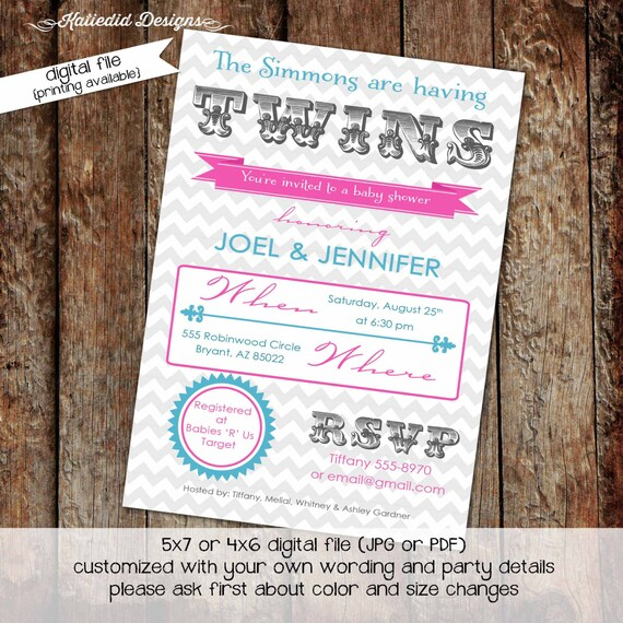Twins baby shower invitation gender reveal typography chevron couples coed diaper wipes brunch sprinkle sip see neutral boy | 1524 Katiedid
