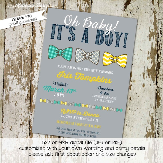 little man bow tie baby shower invitation boy gentleman first 1st birthday diaper wipes brunch couples coed retirement | 128 Katiedid Cards