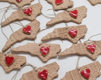 Heart in North Carolina Ornament, North Carolina Topography, Holiday Ornament, Gift Tags