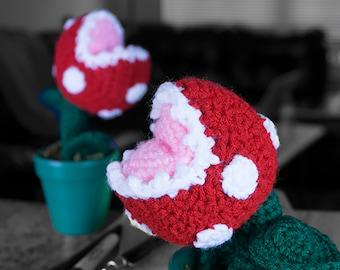 Mario - Inspired Piranha Plant In Clay Pot Crocheted
