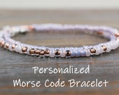 Personalized Gifts for her, Personalized Bracelet Beaded Bracelet Custom Morse Code Bracelet secret message bracelet, Inspirational