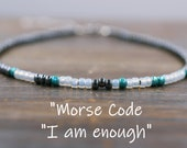Morse Code Anklet, Morse Code Ankle Bracelet, I am enough Jewelry, Beach Anklet Women, Boho Beach Anklet, Beaded Anklet, Boho Ankle Bracelet