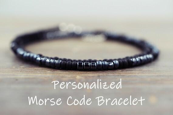 obtenir pas cher belle couleur obtenir de nouveaux Men's Morse Code Bracelet, Long Distance Relationship Bracelet Distance  Bracelet Bracelet Relationship Gift for Boyfriend Bracelet