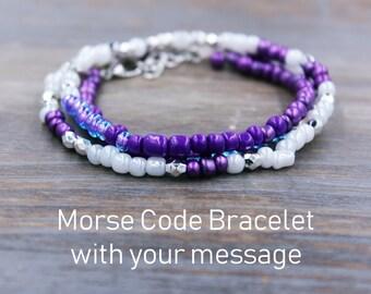 Personalized Bracelet, Secret Message Jewelry, Personalized Gift, Silver Bracelet, Beaded Bracelet, Boho Jewelry, Beaded Jewelry, Gift Ideas