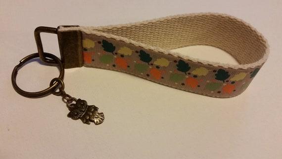 Automne, bracelet porte-clés, porte-clés hibou, chaîne de clé de feuilles d'automne, l'automne décor, feuilles automne porte-clé, bracelet porte-clés chouette, clé bronze