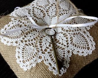 Ring bearer pillow with skeleton key