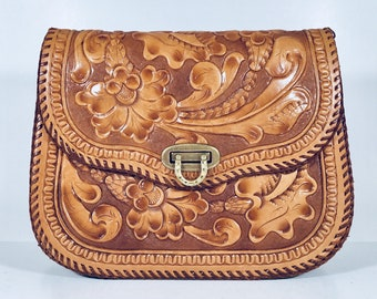 Embossed leather bag   Etsy