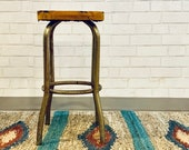 Vintage Stool Metal Stool Wood Stool Loft Living Industrial Chic Workshop Stool
