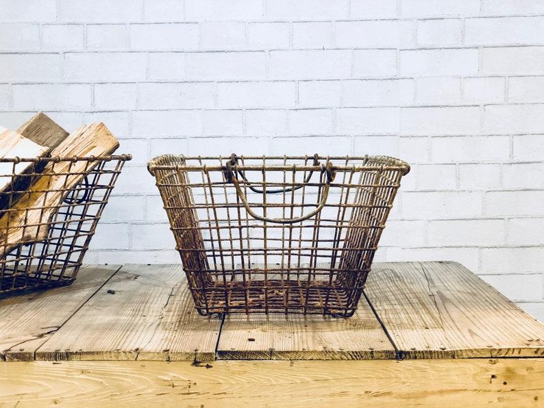 French Wire Basket | Basket with Handles | Metal Wire Basket | Antique  Metal Storage | Mannes | Belon Oyster | Brittany France | Industrial