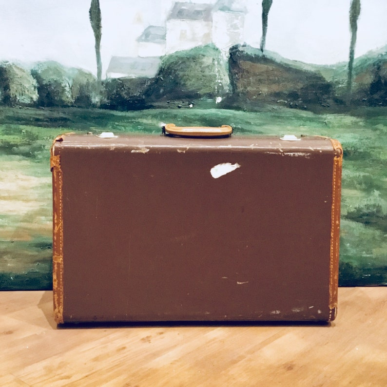 Vintage Brown Leather Suitcase Brown Leather Suitcase Vintage Travel Vintage Leather Suitcase Hard Side Suitcase Wedding Card Box