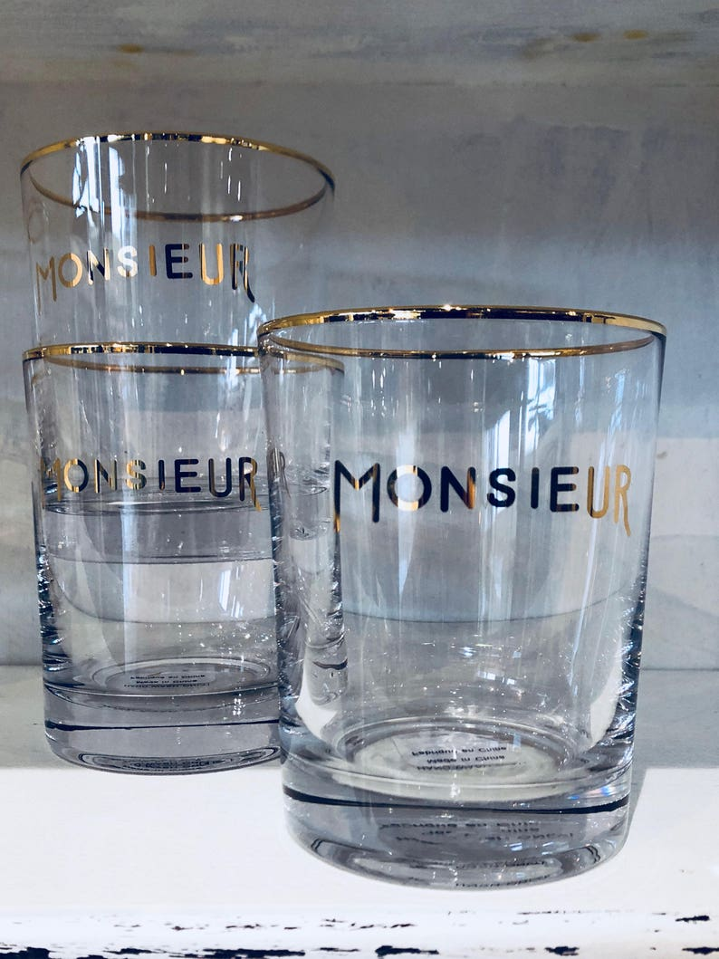 Monsieur glass with gold rim.