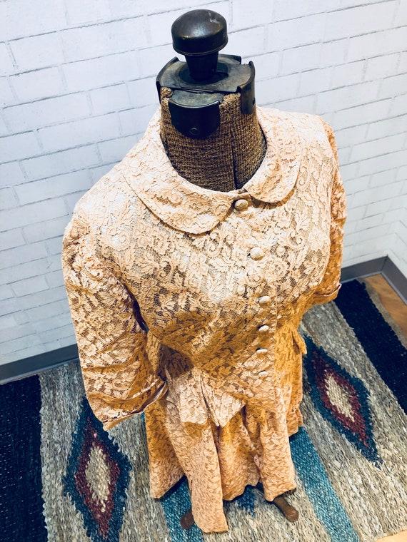 Lace Wedding Dress | Peach | Brocade | Tea Length