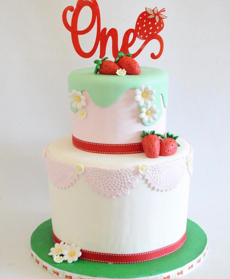 Tremendous One Strawberry Acrylic Cake Topper Age Cake Topper Number Cake Etsy Funny Birthday Cards Online Elaedamsfinfo