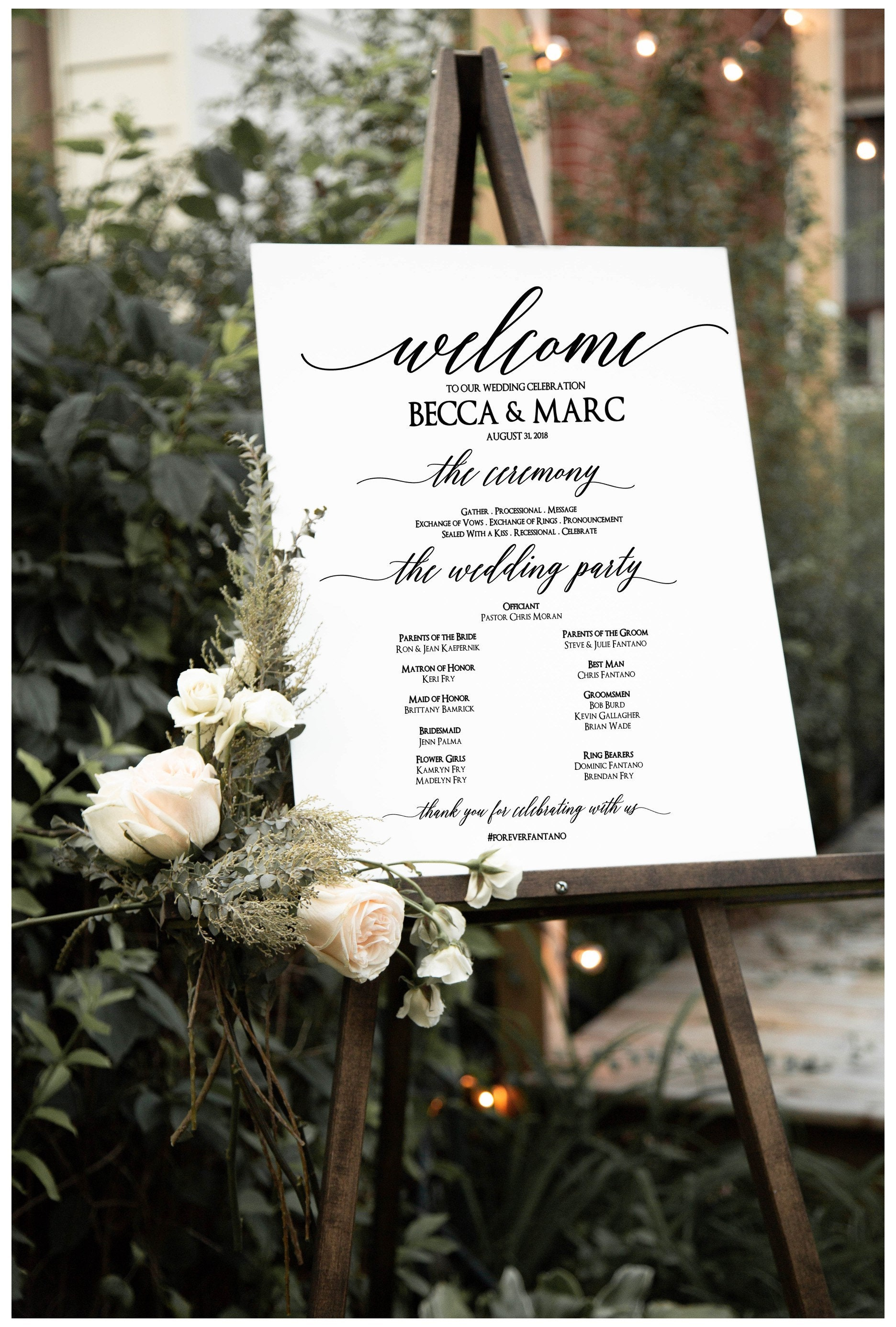 69465dc0c1c Bridal Party Program Order of Ceremony Vinyl Decal Welcome