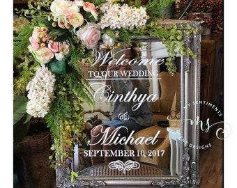 Wedding Welcome VINYL DECAL, Mirror Decal, DIY Flourish Heart Wedding Mirror Vinyl Decal, Wedding Welcome Vinyl Welcome Decal for Mirror