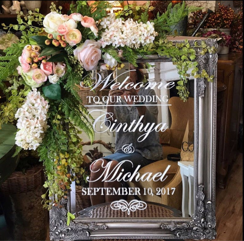 Wedding Welcome Decal Sign Mirror Decal DIY Flourish Heart image 0