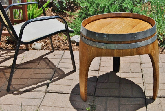 Arched Napa Valley Wine Barrel End Table With 3 Legs Upcycled Etsy