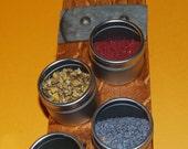 Magnetic Wine Barrel Stave Spice Rack, 8 Tins, Knife Rack, Kitchen Storage, Wedding Gift, Napa Gift Ideas
