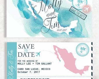 Save The Date Boarding Pass Etsy