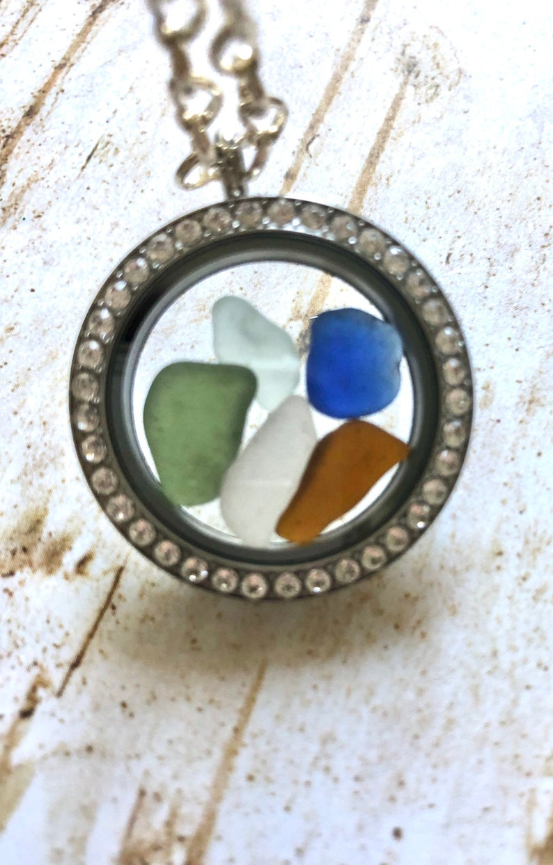 Scottish Sea Glass Locket Necklace Multicolored Beach Glass Gift from Scotland Highland BEST SELLER