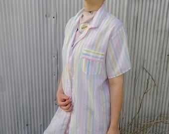 Pastel Striped Pajama Shirt