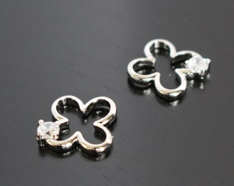 Shiny Silver 4 leaf Clover Flower Leaf pendant, connector, 2 pc, PF61853