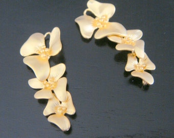 Matte Gold Long Orchid Flower Connector U614006 pendants 2 pc setting connector Wholesale Supplies Earring Findings