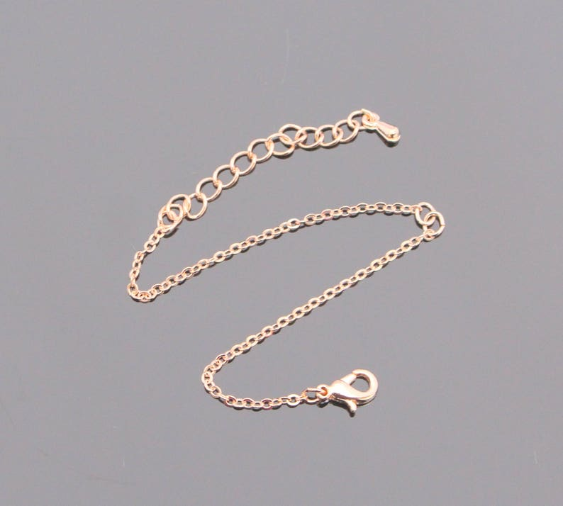 Finished Rose delicate Gold Plated Brass Cable Chain Thin Bracelet Chain Bracelet Chain with middle opening GM81132 2 pc
