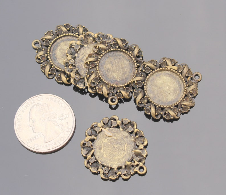 Filigree Cameo Cabochon Base Setting Pendant Picture Setting Charm D91212 5 pc Antique Bronze Frame Cameo Round