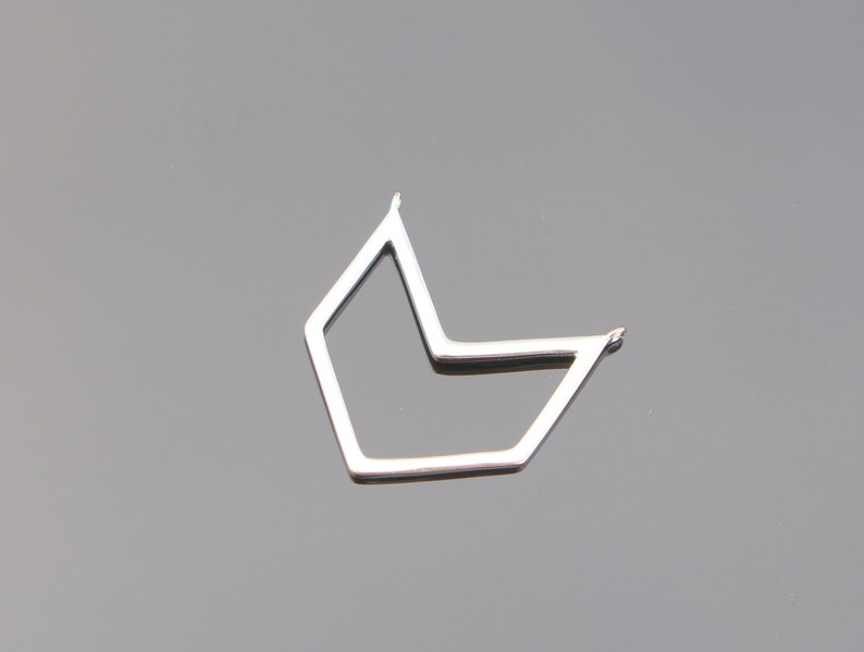 Triangle Charms Sterling Silver Chevron V shaped link connector pendants triangle Bead 1 pc connectors SC83644