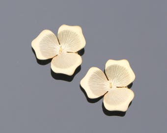 Matte Gold three petal flower connector, findings, jewelry supplies