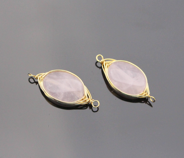 Jewelry Supplies, Light Rose Quartz Stone Pendant, Small Pink Wire ...