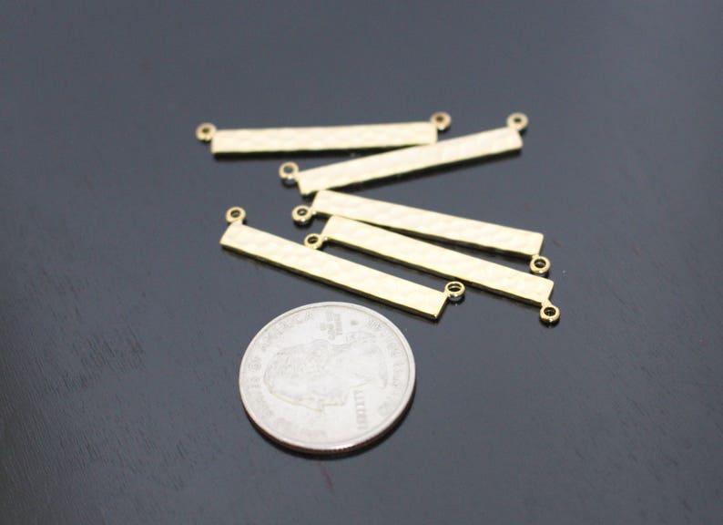Silver Hammered Bar pendant Medium Shiny Gold Name Plate Horizontal Stamping Bar 2 pc charm KE813364 Bar Link connector