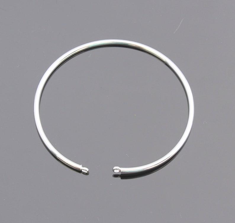 1 pc U23778 Cuff bangle Bracelet with loops Silver Round Textured Bangle Bracelet
