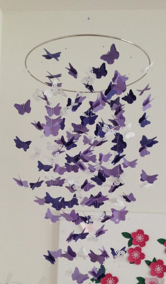 Papillon mobile de lustre en violet et blanc pour la plupart etsy - Chambre violet et blanc ...