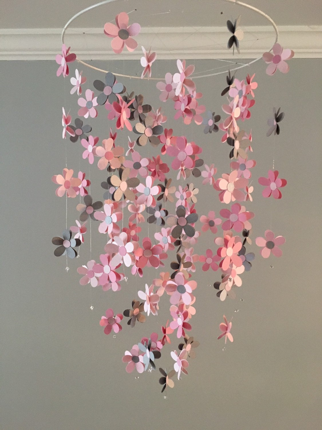 Flower Mobile In Gray And Pink Nursery Mobile Baby Girl Etsy