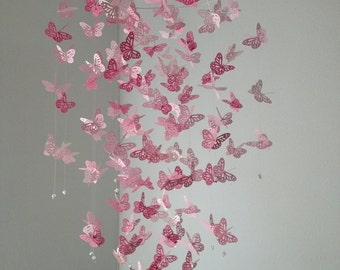 Butterfly mobile, Monarch Butterfly Chandelier   Mobile -Perfectly Pink, girl room mobile, nursery mobile, baby girl mobile, photo prop