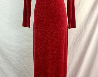 Filigree LTD Collection Vintage Maxi Dress Sparkly Red Long Sleeves